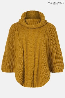 Accessorize Yellow Cable Knit Poncho