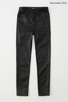 Abercrombie & Fitch Black Coated Jeans