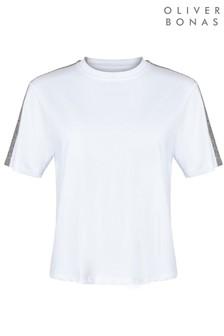 Oliver Bonas Sparkle Stripe White T-Shirt