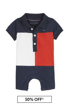 Tommy Hilfiger Baby Boys Navy Cotton Shortie Rompsersuit