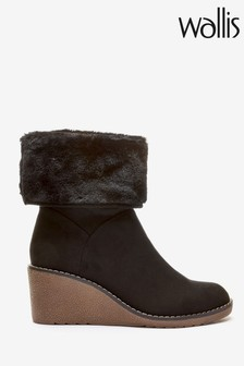 Wallis Black Armstrong Faux Fur Cuff Wedge Boots