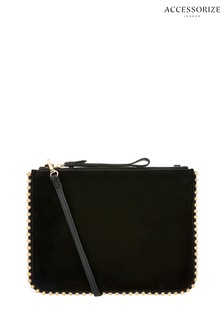 Accessorize Black Claudia Chain Leather Cross Body Bag