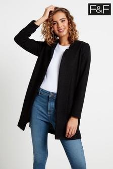 F&F Black Snit Coat