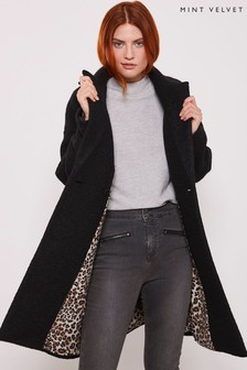 Mint Velvet Black Bouclé Patch Pocket Coat