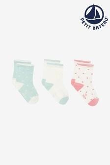 Petit Bateau Turquoise/Pink/White Socks Three Pack