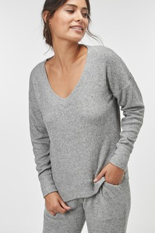 Brushed Ribbed V-Neck Top