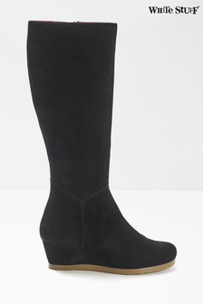 White Stuff Black Issy Wedge High Leg Boots