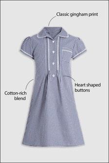 鈕釦前蕾絲格子布洋裝 (3-14歲)