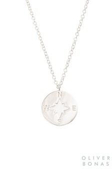 Oliver Bonas Silver Atlas Silver Compass Pendant Necklace