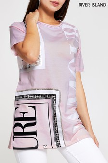 River Island Pink Print Bold Couture 360 Print Embellished Boyfriend Tee