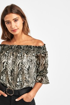 Off The Shoulder Metallic Top