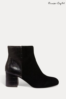 Phase Eight Black Helena Croc Ankle Boots