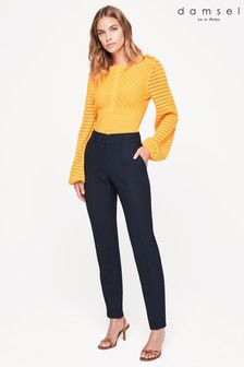 Damsel In A Dress Blue Shanna Textured Tapered Trousers
