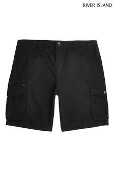 River Island Black Cargo Shorts
