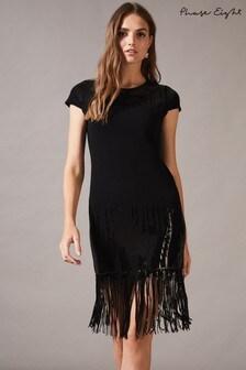 Phase Eight Black Ferne Fringe Sequin Dress