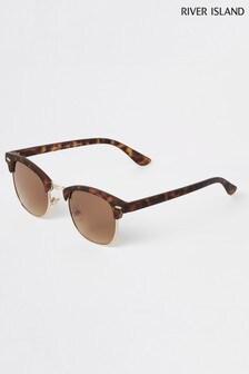 River Island Brown Tortoiseshell Clubmaster Sunglasses