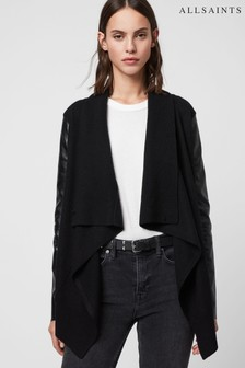AllSaints Black Draped Lucia Cardigan