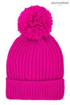 Accessorize粉色圓球無邊便帽