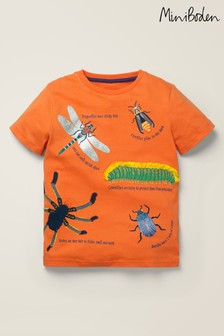 Mini Boden Orange Insects Textured T-Shirt