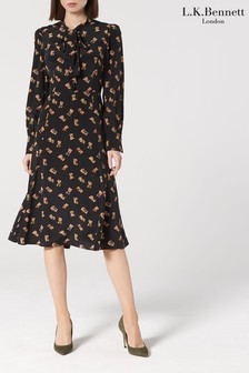L.K.Bennett Black Mortimer Tie Neck Silk Dress