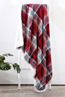 Sherpa Fleece Lined Snowy Check Throw