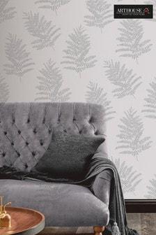 Arthouse Silver Metallic Fern Leaves Wallpaper