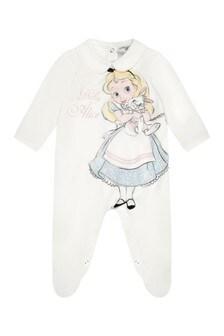 Girls Ivory Cotton Alice & Rabbit Babygrow