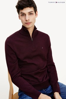 Tommy Hilfiger Red Organic Cotton Blend Zip Mock Sweater