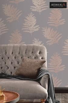 Arthouse Grey Metallic Fern Leaves Wallpaper