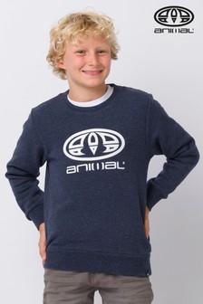 Animal Blue Marl Crossed Crew Neck Sweatshirt
