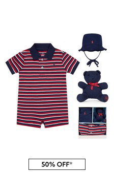 Ralph Lauren Kids Baby Boys Red Cotton Romper