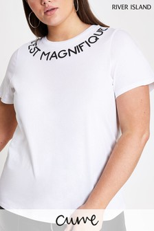 River Island White Cest Magnifique Neck Print T-Shirt