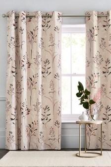 Fairburn Leaf Print Eyelet Curtains