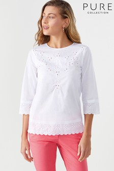 Pure Collection White Cotton Embroidered Blouse