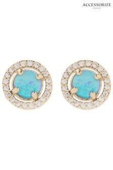 Accessorize Blue Z Sparkle Opal Stud Earrings