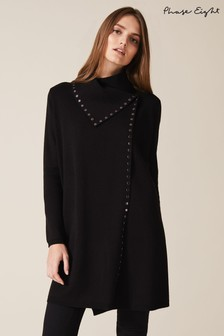 Phase Eight Black Paloma Stud Knit Coat