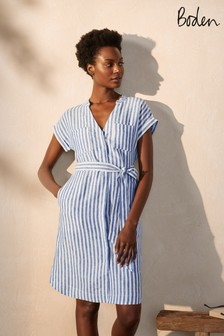 Boden Blue Evie Linen Shirt Dress