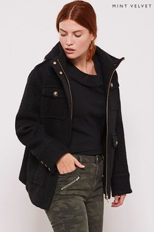 Mint Velvet Black Bouclé Military Coat