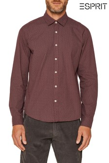 Esprit Red All Over Print Twill Woven Shirt