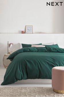 Bottle Green Cotton Rich Duvet Cover And Pillowcase Set