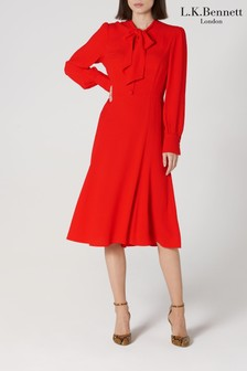 L.K.Bennett Red Mortimer Satin Back Tea Dress