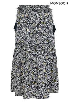 Monsoon Blue Floral Print Organic Cotton Midi Skirt