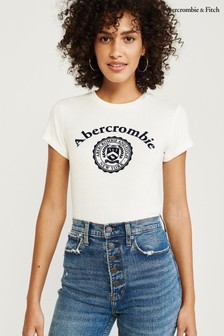 Abercrombie & Fitch White Logo T-Shirt