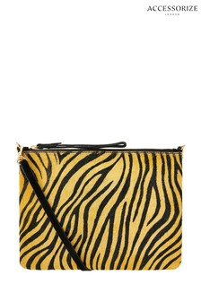 Accessorize Yellow Tiger Print Claudia Leather Cross Body Bag
