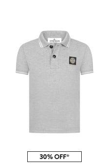 Stone Island Junior Boys Grey Cotton Polo Shirt