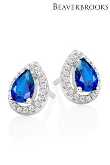 Beaverbrooks Sterling Silver Blue Pear-Shaped Cubic Zirconia Halo Earrings