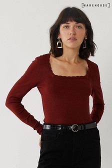 Warehouse Burgundy Scallop Square Neck Jumper