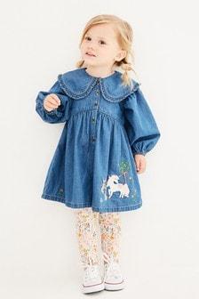 Unicorn Embroidered Dress & Legging Set (3mths-7yrs)