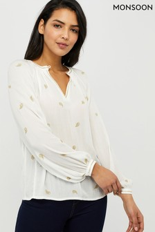 Monsoon Ladies Cream Pia Embroidered Ecovero Top