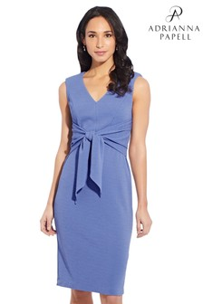 Adrianna Papell Blue Rio Knit Tie Sheath Dress